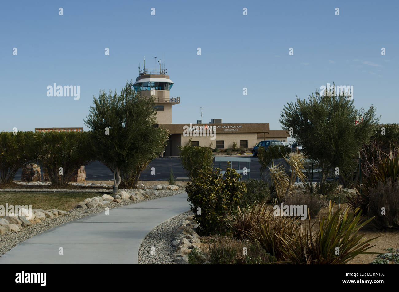The control tower at Mojave airport and spaceport from heritage park - Stock Image
