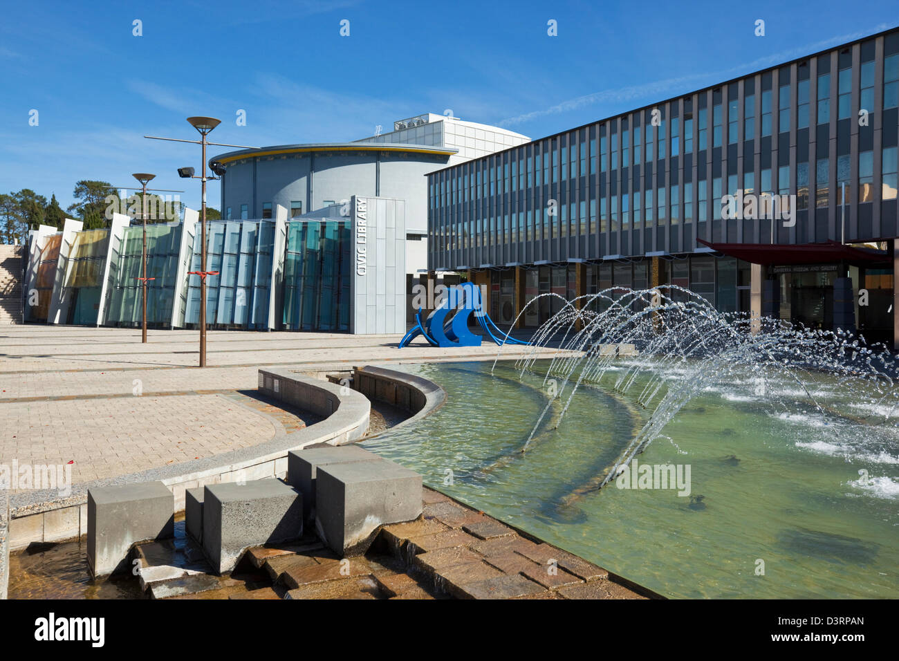 View across Civic Square to the Civic Library. Canberra, Australian Capital Territory (ACT), Australia - Stock Image