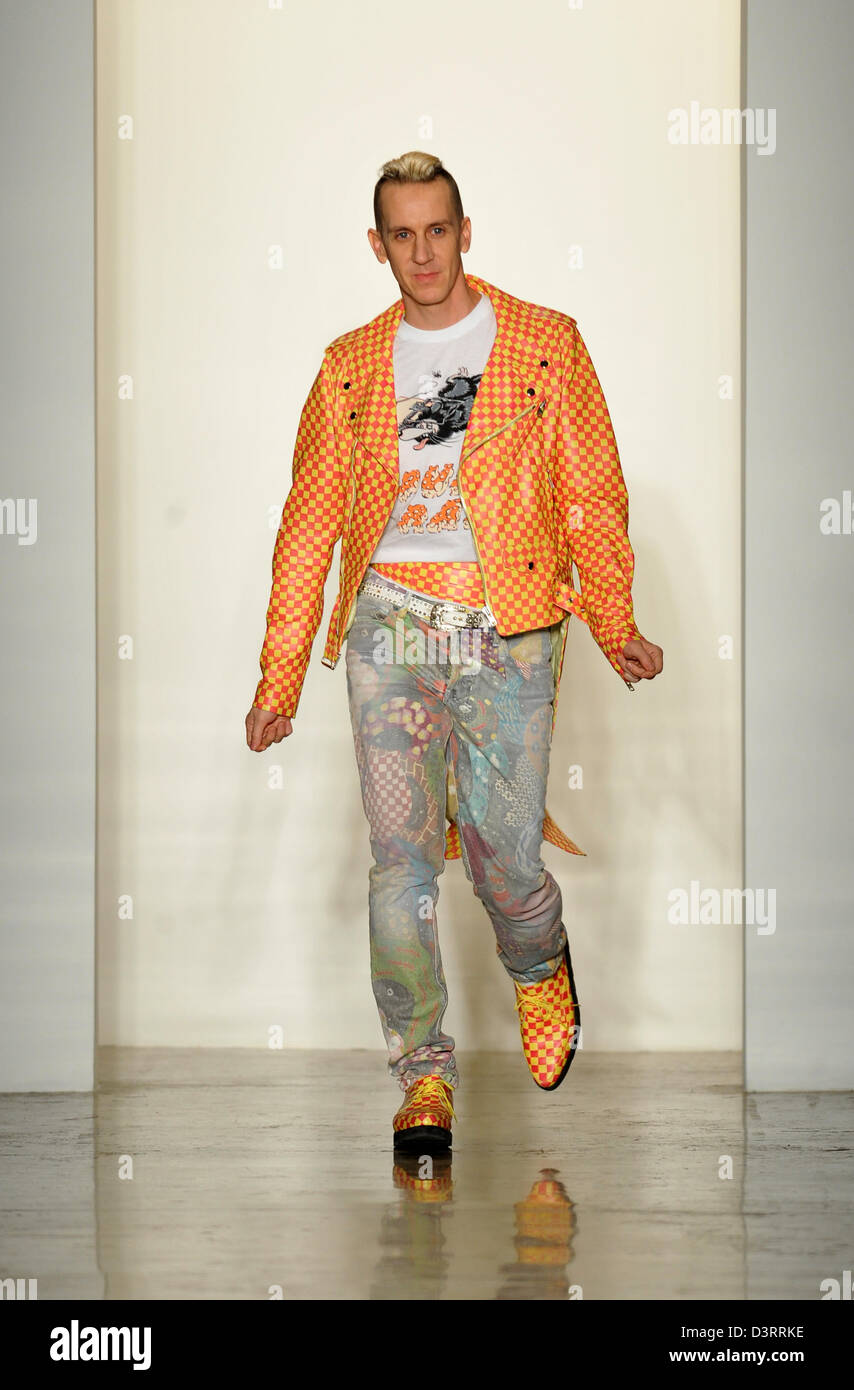 online retailer b8de2 4bc32 NEW YORK, NY - FEBRUARY 13  Designer Jeremy Scott walks the runway at the