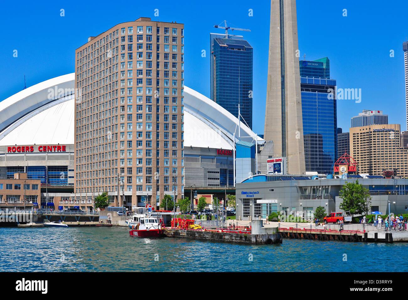 Toronto Skydome view from the lake Ontario - Stock Image