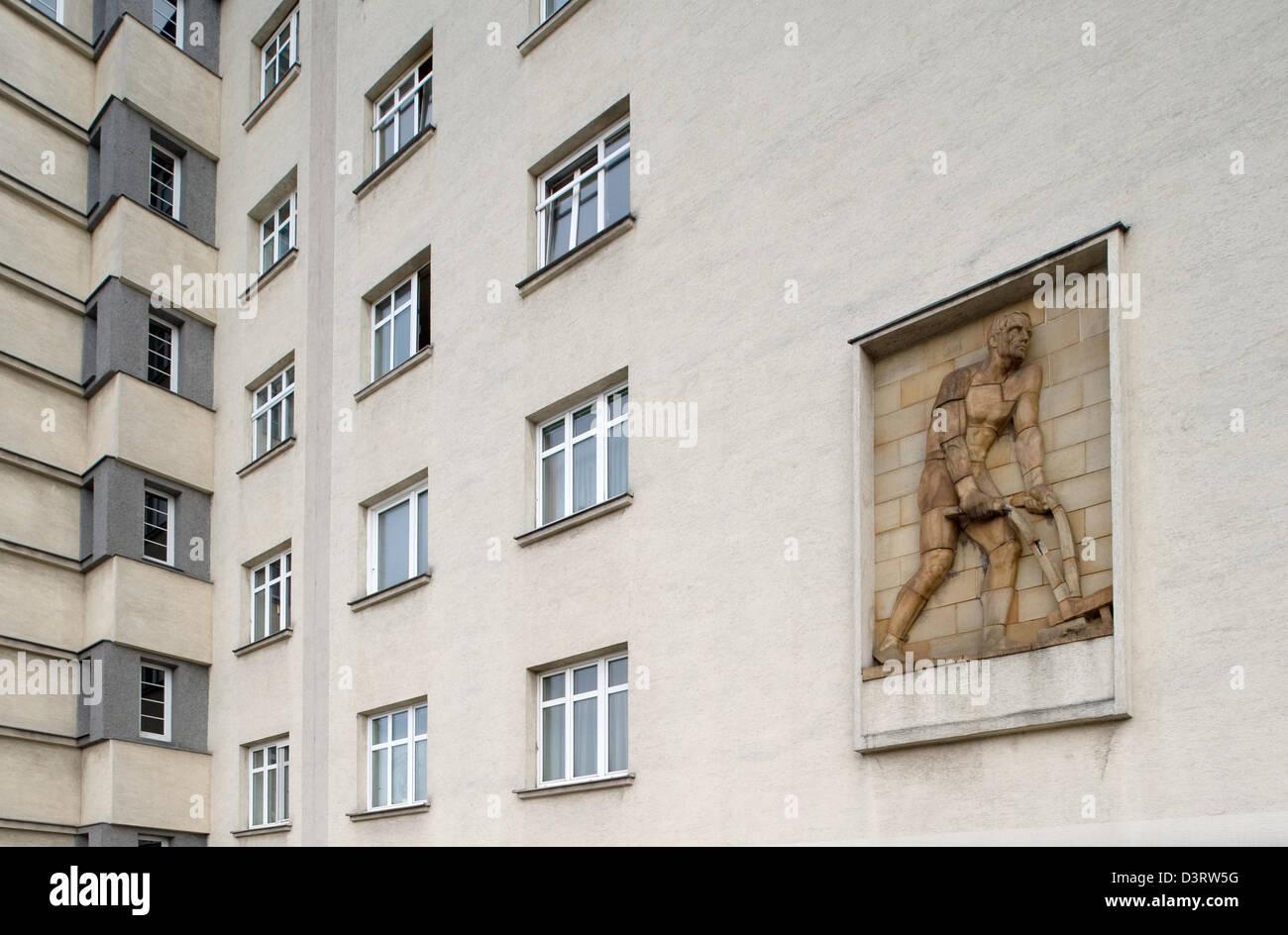 Vienna, Austria, facade with terra cotta relief in Wildganshof in Vienna's Landstrasse Stock Photo