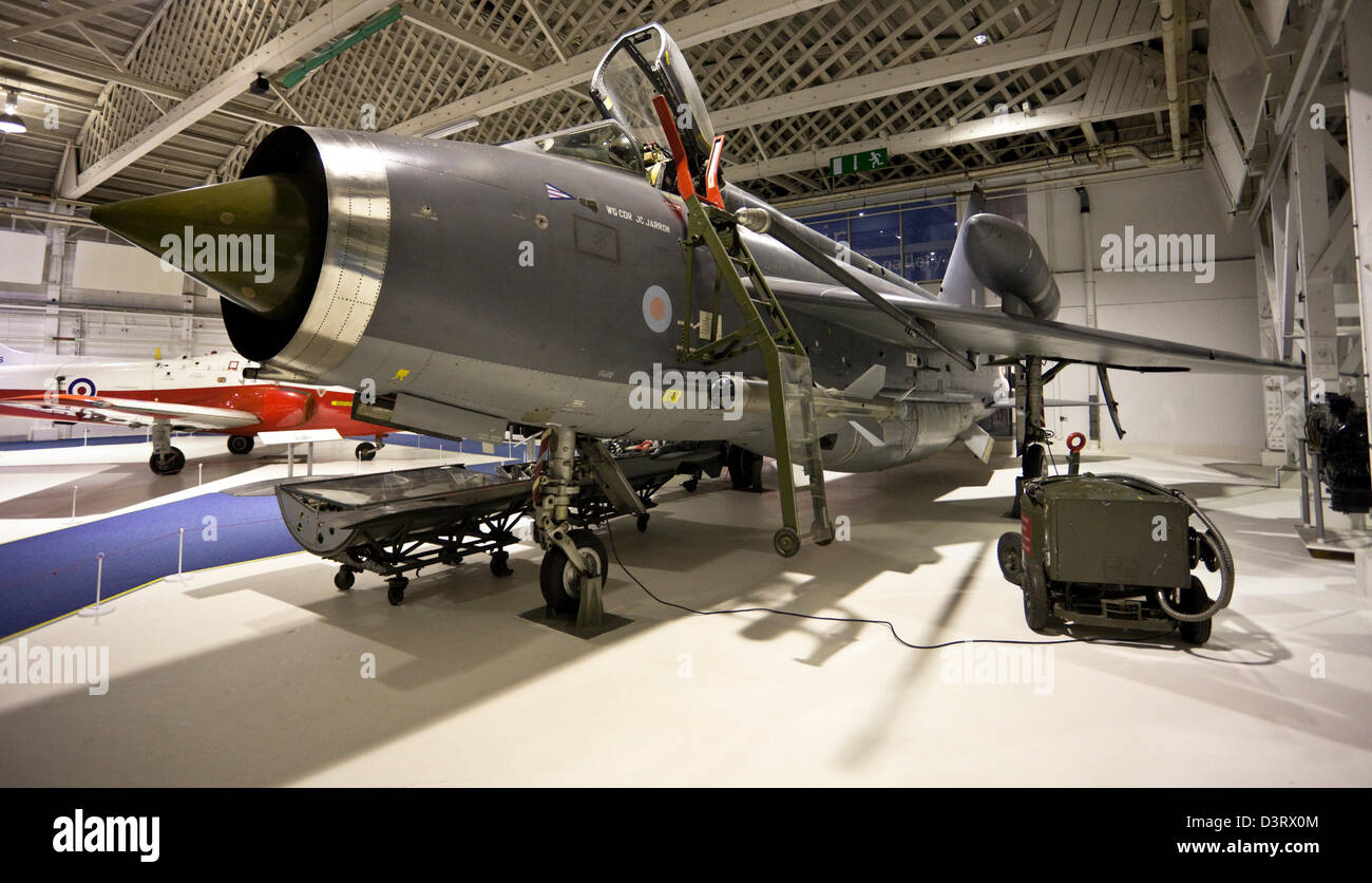 The English Electric Lightning, supersonic jet fighter aircraft, at the Royal Air Force (RAF) Museum, London, England, - Stock Image