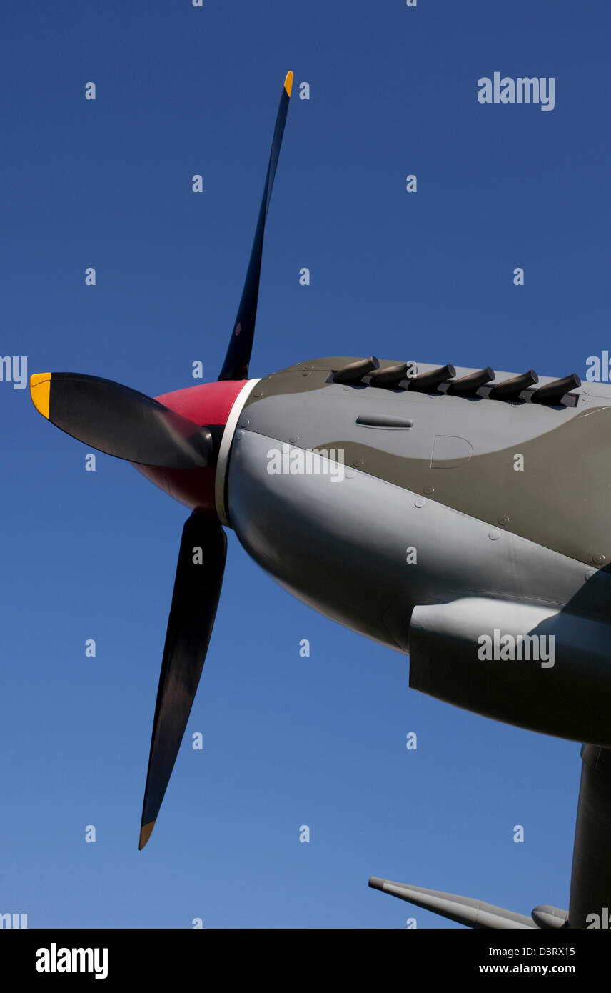 Supermarine Spitfire Mk IX fighter aircraft propeller, Royal Air Force (RAF) Museum London, England, UK - Stock Image