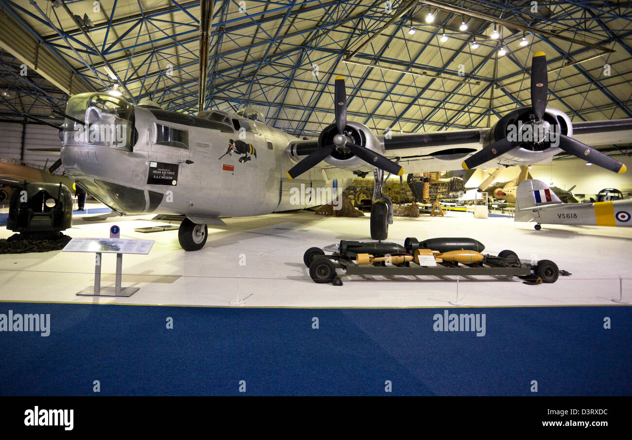 Consolidated Liberator, B-24, heavy bomber, on display at the Royal Air Force (RAF) Museum, London, England, UK - Stock Image