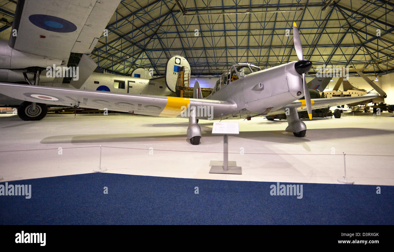 The Percival Prentice, basic trainer low-wing monoplane, on display at the Royal Air Force (RAF) Museum, London, - Stock Image