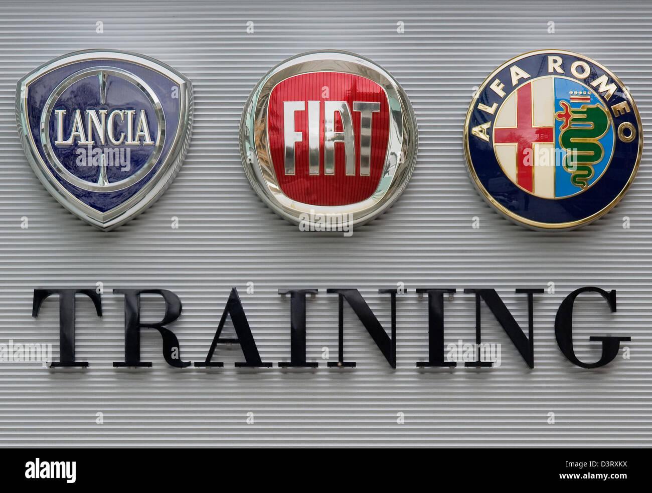 Vienna, Austria, logos of the Italian car brands Lancia, Fiat and Alfa Romeo - Stock Image
