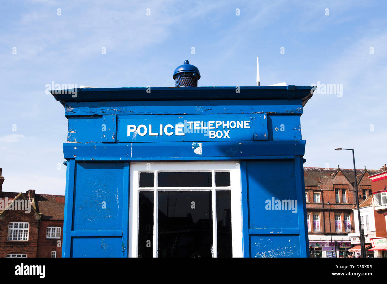 An old police telephone box in the UK. - Stock Image