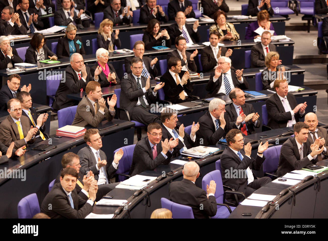 Berlin, Germany, in parliament at question time to the Bundestag Guttenberg Plagiatsvorwuerfen - Stock Image