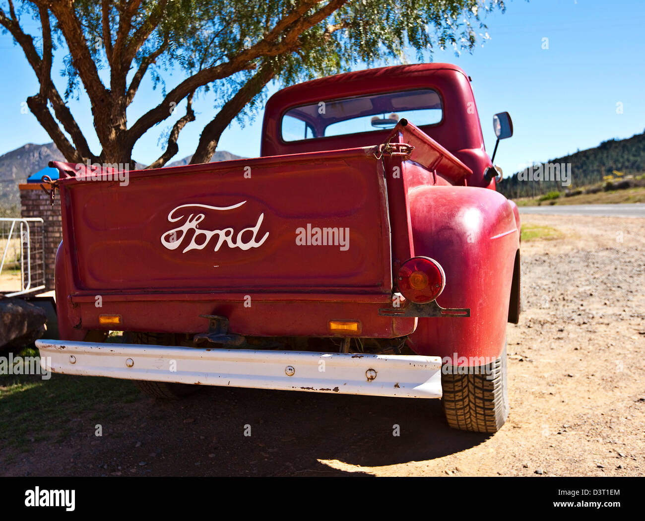 Vintage Red Ford Pickup Truck Stock Photos 1955 F100 Running Boards South Africa Image