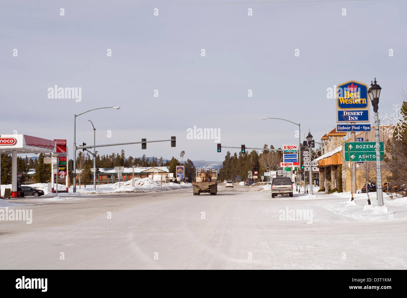 The main road through West Yellowstone in Montana, USA - Stock Image