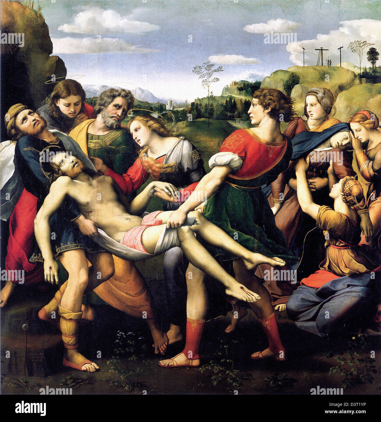 Raphael, The Deposition of Christ (The Entombment) 1507–1508 Oil on wood. Galleria Borghese, Rome - Stock Image