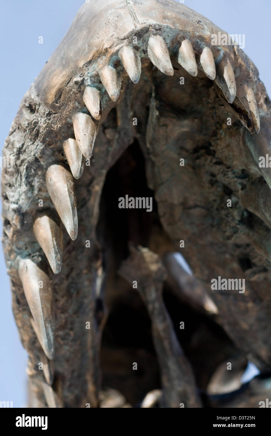 Mouth and teeth of a life-size T-Rex model outside the Museum of the Rockies in Bozeman, Montana, United States - Stock Image