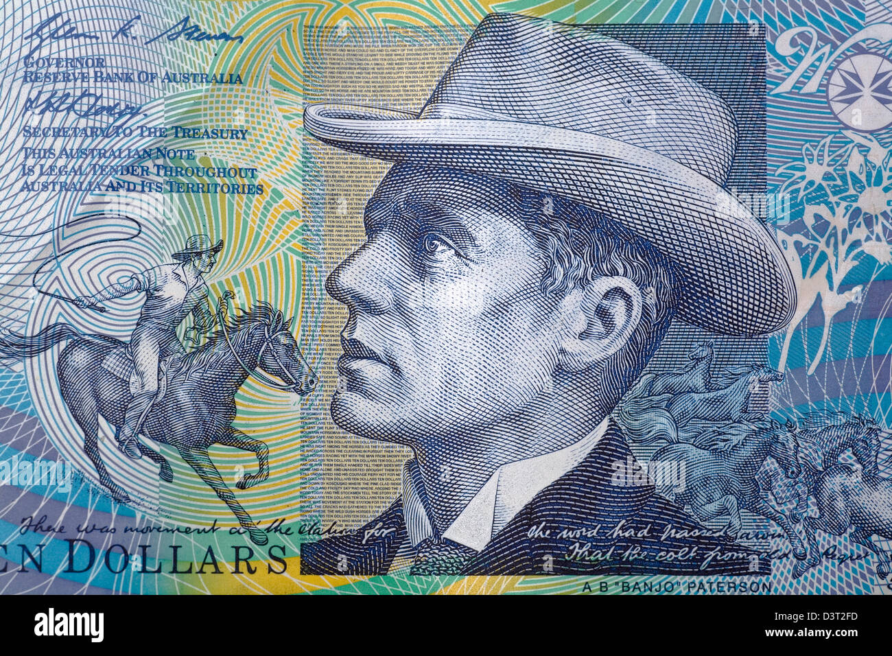 Banjo Patterson, famous Australian bush poet & author, as featured on an Australian $10 banknote - Stock Image