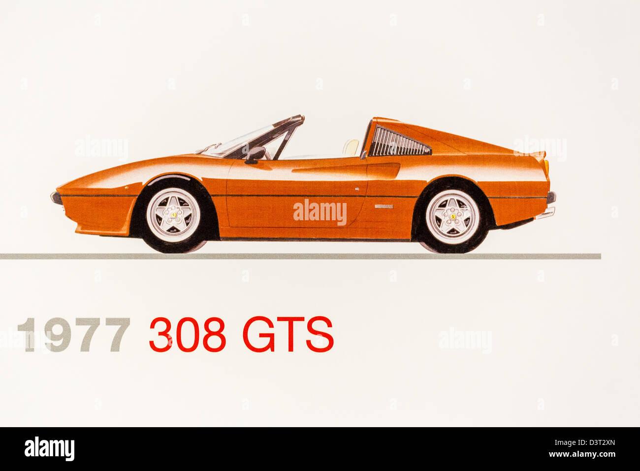 Graphic representation of a 1977 Ferrari 308 GTS, Ferrari Museum, Maranello, Italy - Stock Image