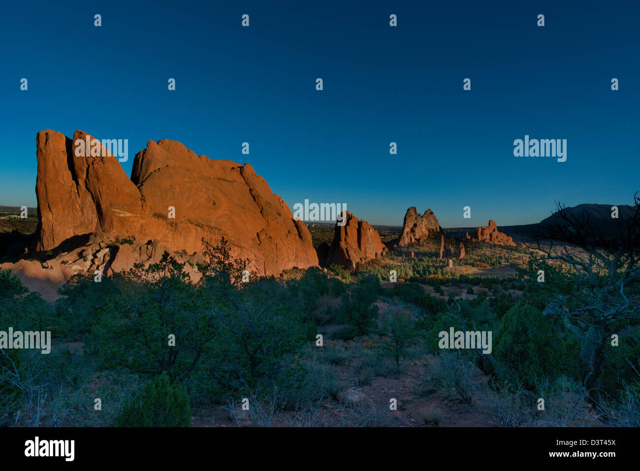 Sunset over Garden of the Gods in Colorado, USA - Stock Image