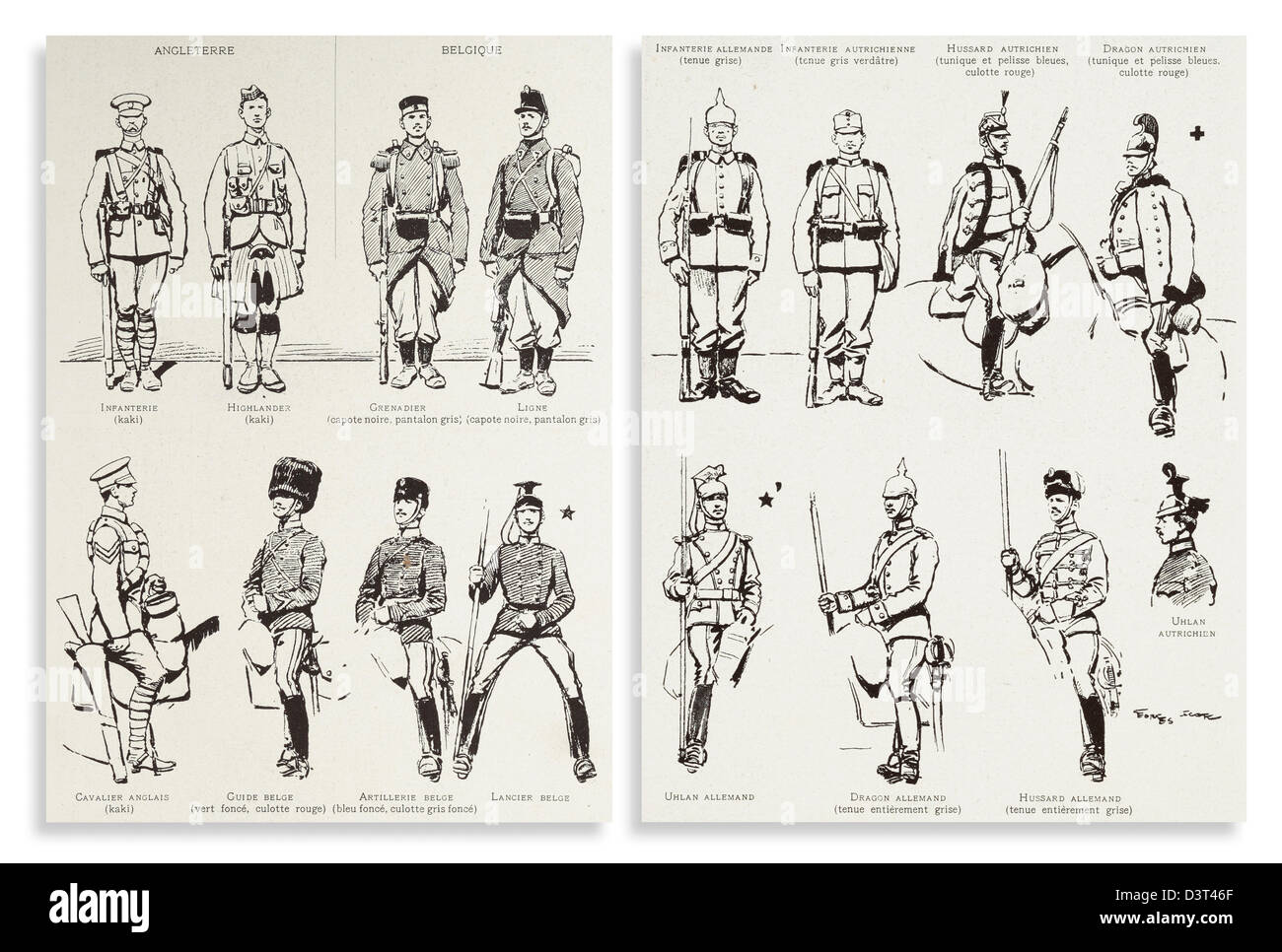 Identification leaflets, showing uniforms worn by the allies and enemy, distributed to French troops during the - Stock Image