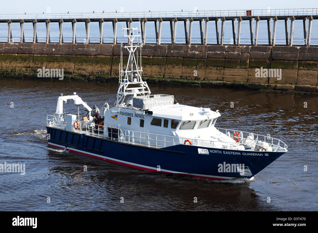 The North Eastern Guardian III Fisheries Protection Patrol vessel in Whitby Harbour, North Yorkshire, England, UK. - Stock Image