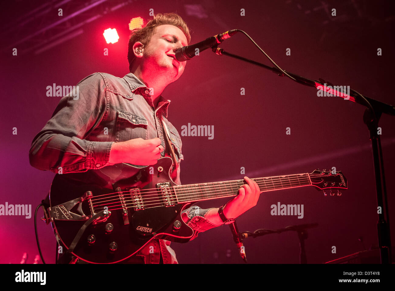 February 22, 2013 - The Irish indie rock band Two Door Cinema Club performs at the Magazzini Generali, Milan, Italy - Stock Image