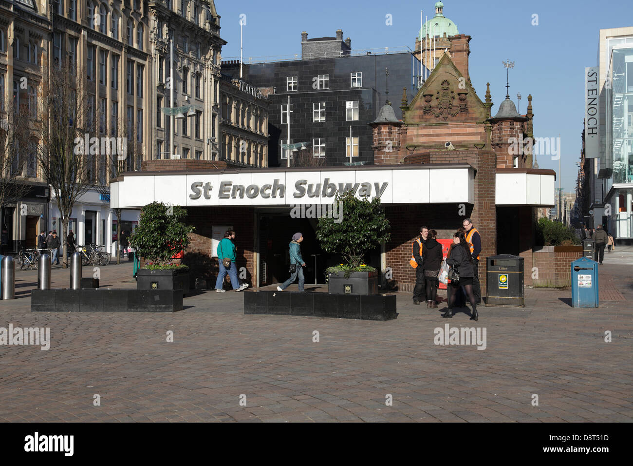 Entrance to St Enoch Subway Station in Glasgow city centre, Scotland, UK - Stock Image