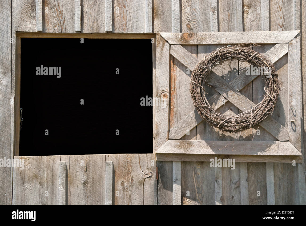 Barn Door Open To Black Background As A Design Element Dutch With Top Half Rustic Weathered Wood Siding