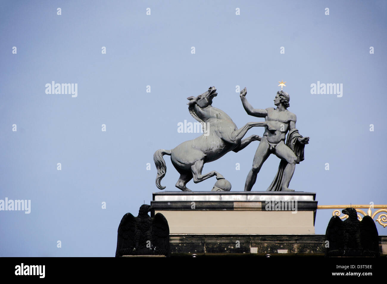 Berlin, Germany. Altes Museum (Old Museum) Statue of Castor and horse in front of museum - Stock Image