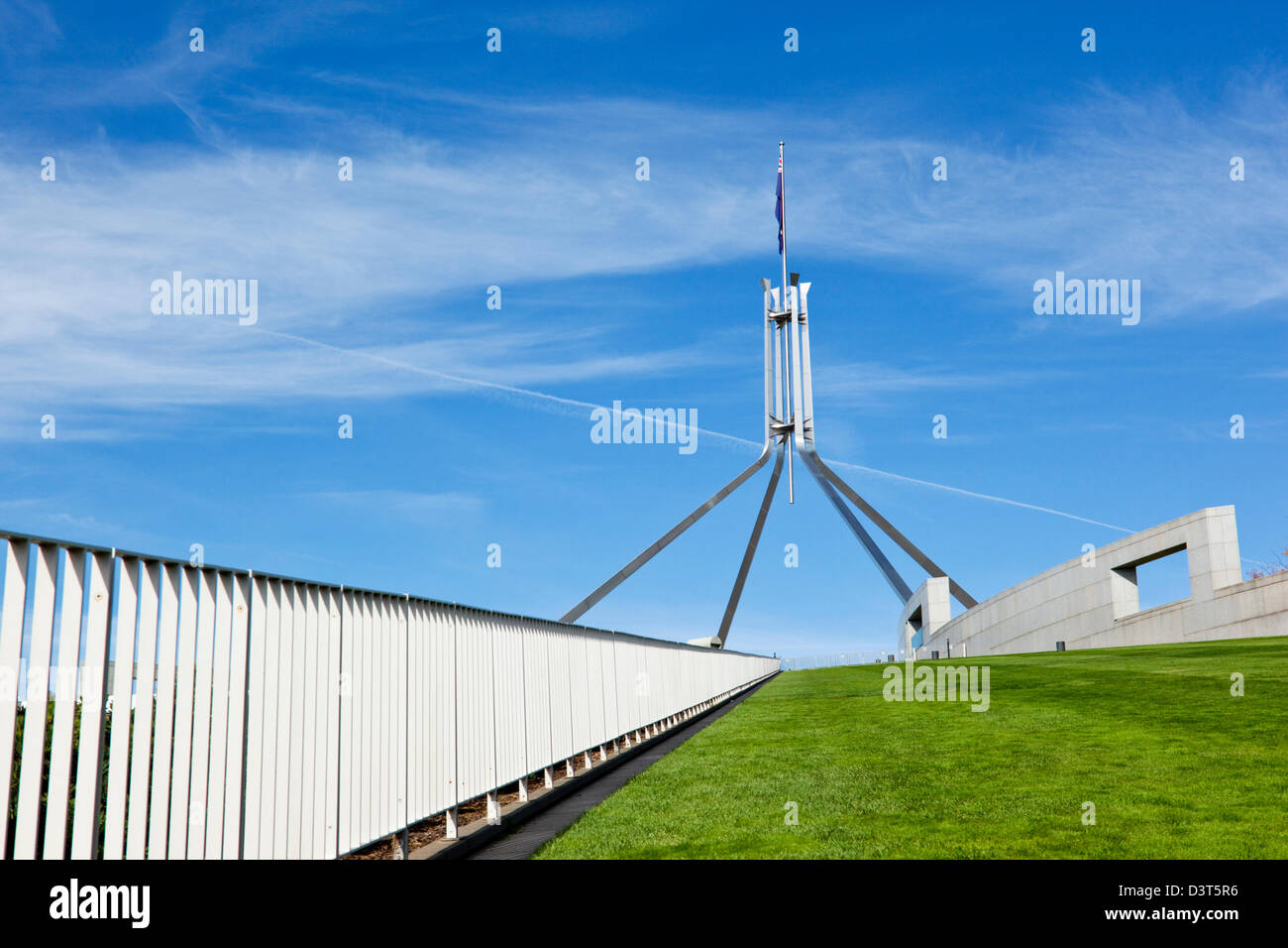 View of Parliament House flagpole from The rooftop lawn. Canberra, Australian Capital Territory (ACT), Australia - Stock Image