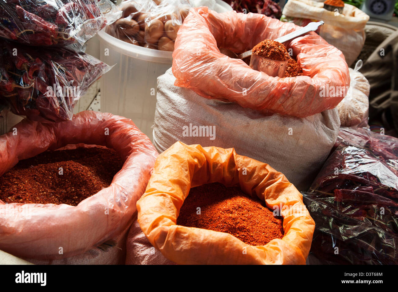Spices at the open market in Thimphu, Bhutan. - Stock Image