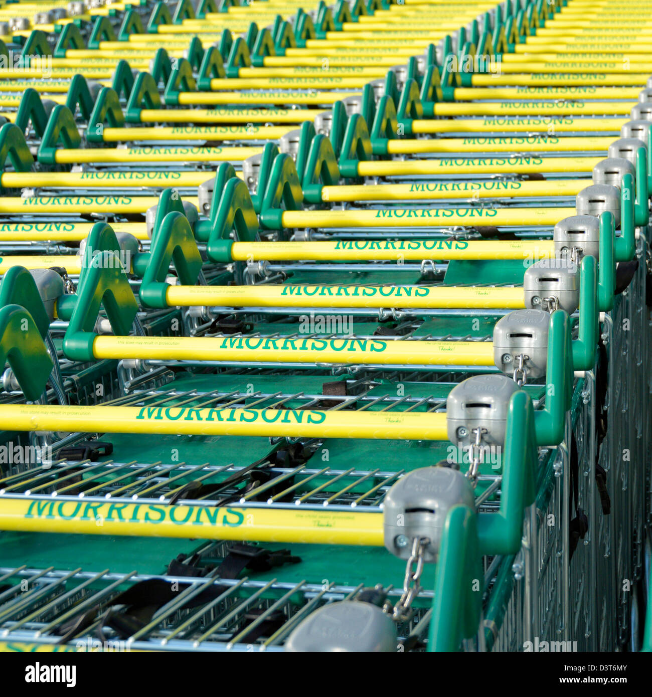 Shopping trolley park at  Morrisons supermarket store - Stock Image