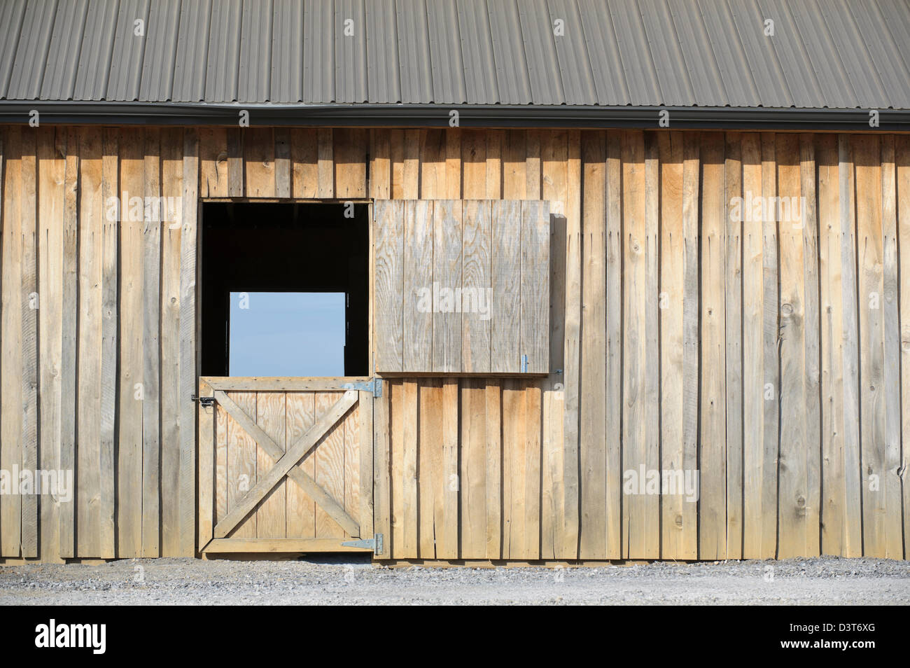 Open Barn Door And Wooden Wall For Backgrounds And Design Elements