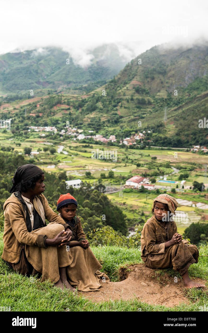Locals Highlands Madagascar Africa - Stock Image