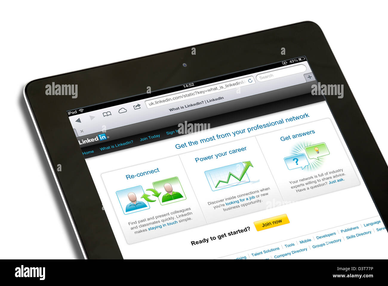 The professional social networking site LinkedIn viewed on a 4th generation iPad - Stock Image