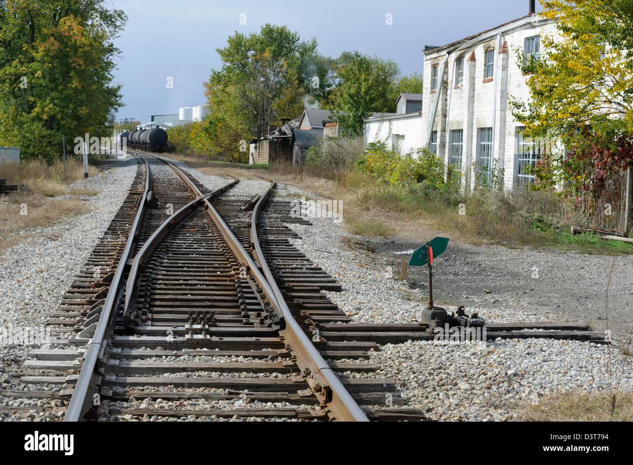 Railroad tracks and industrial siding to factories, American, USA - Stock Image