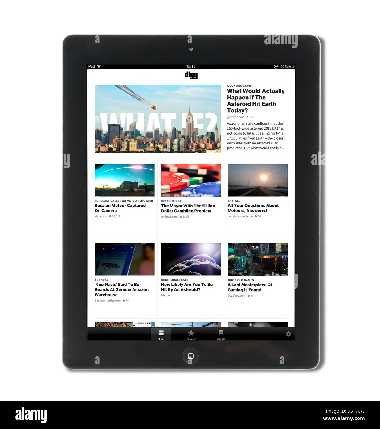 Digg, the social news website, viewed on a 4th generation Apple iPad - Stock Image
