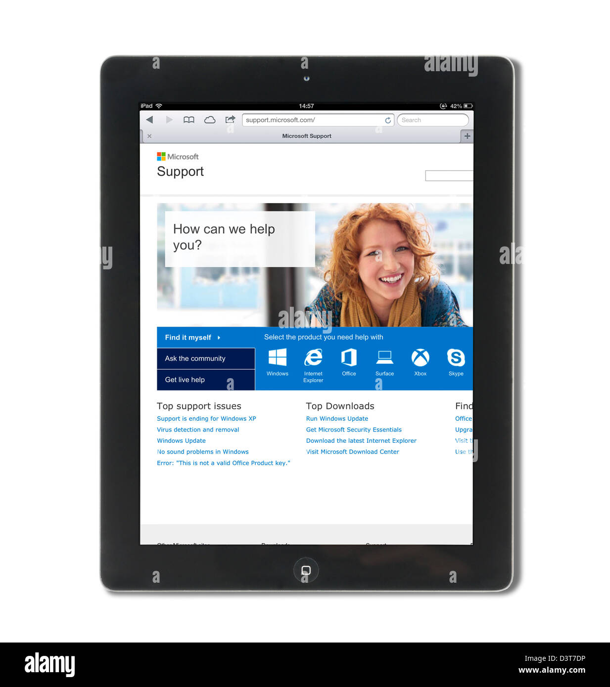 Microsoft Support site viewed on a 4th generation Apple iPad tablet computer - Stock Image