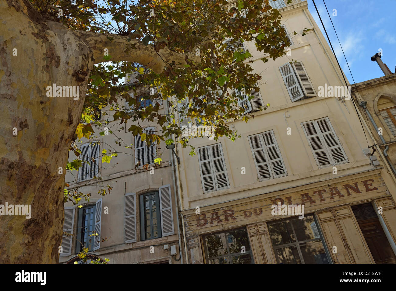 Old-fashioned French cafe / bar facade in Panier district, Marseille, France - Stock Image