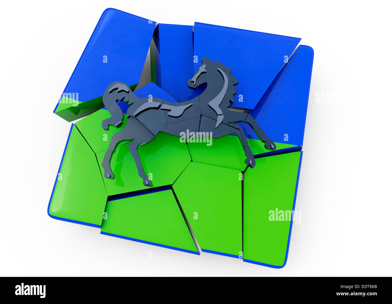 3D render of a cracking and crumbling Lloyds TSB logo - Concept - White background - Stock Image