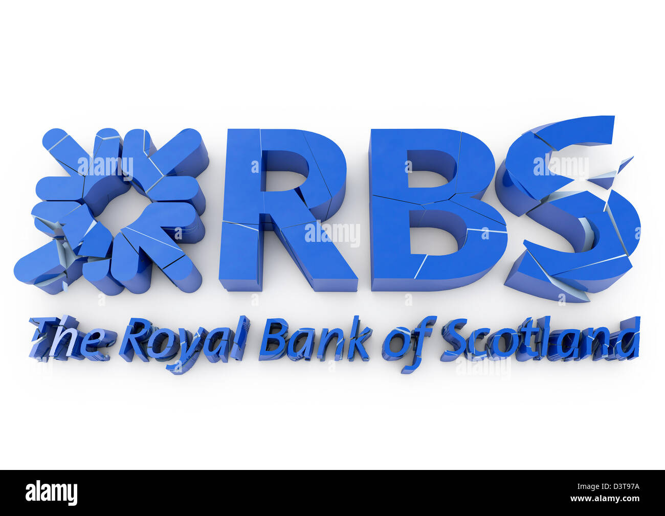 3D render of a cracking and crumbling RBS / Royal Bank of Scotland logo - Concept - White background - Stock Image