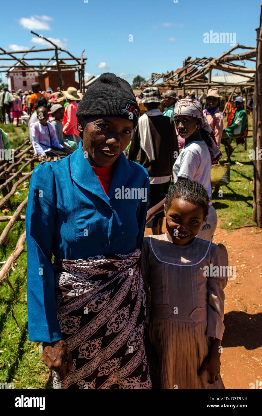 Indigenous people colourful traditional market Highland Madagascar - Stock Image