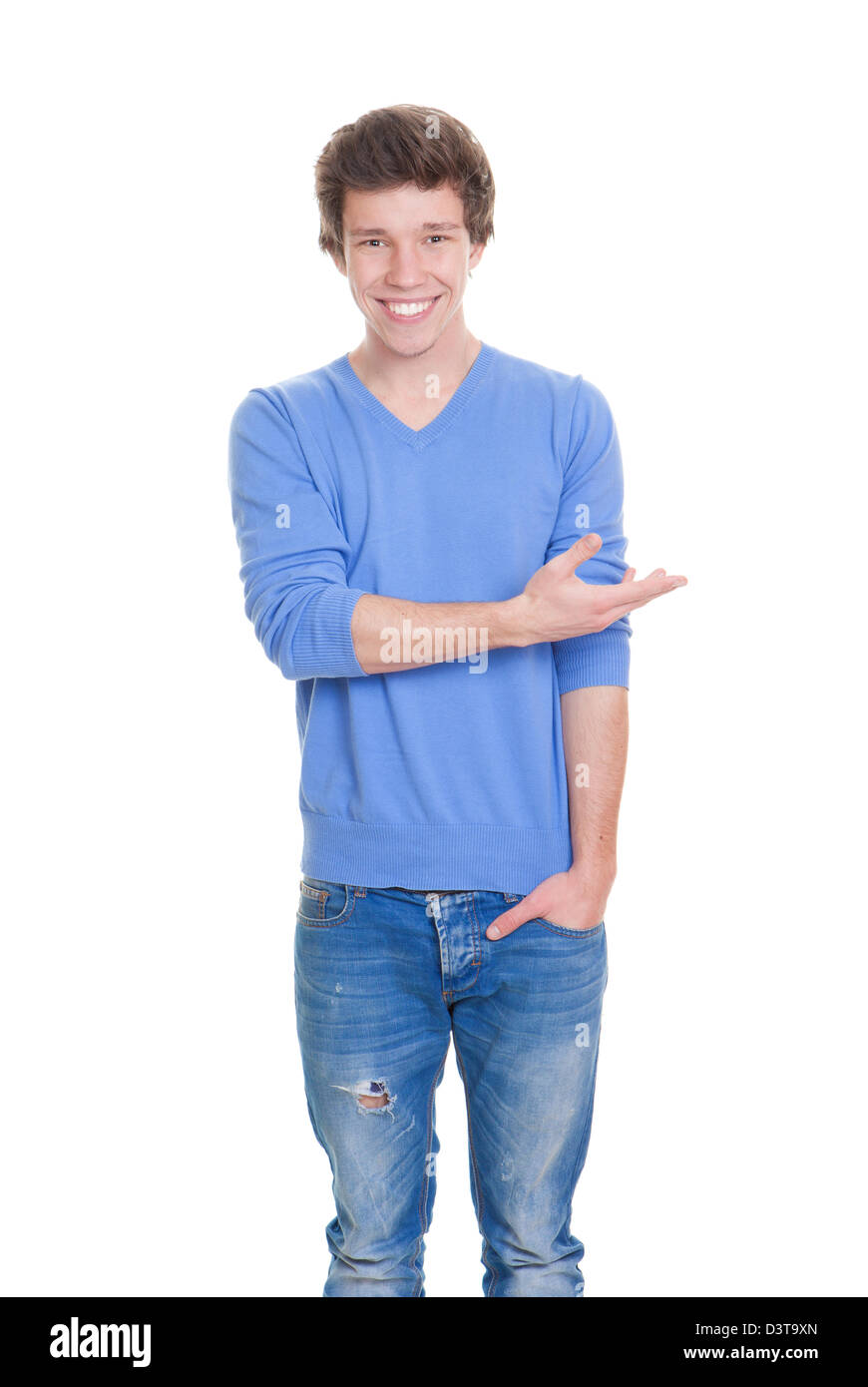 friendly student gesturing indicating or showing - Stock Image