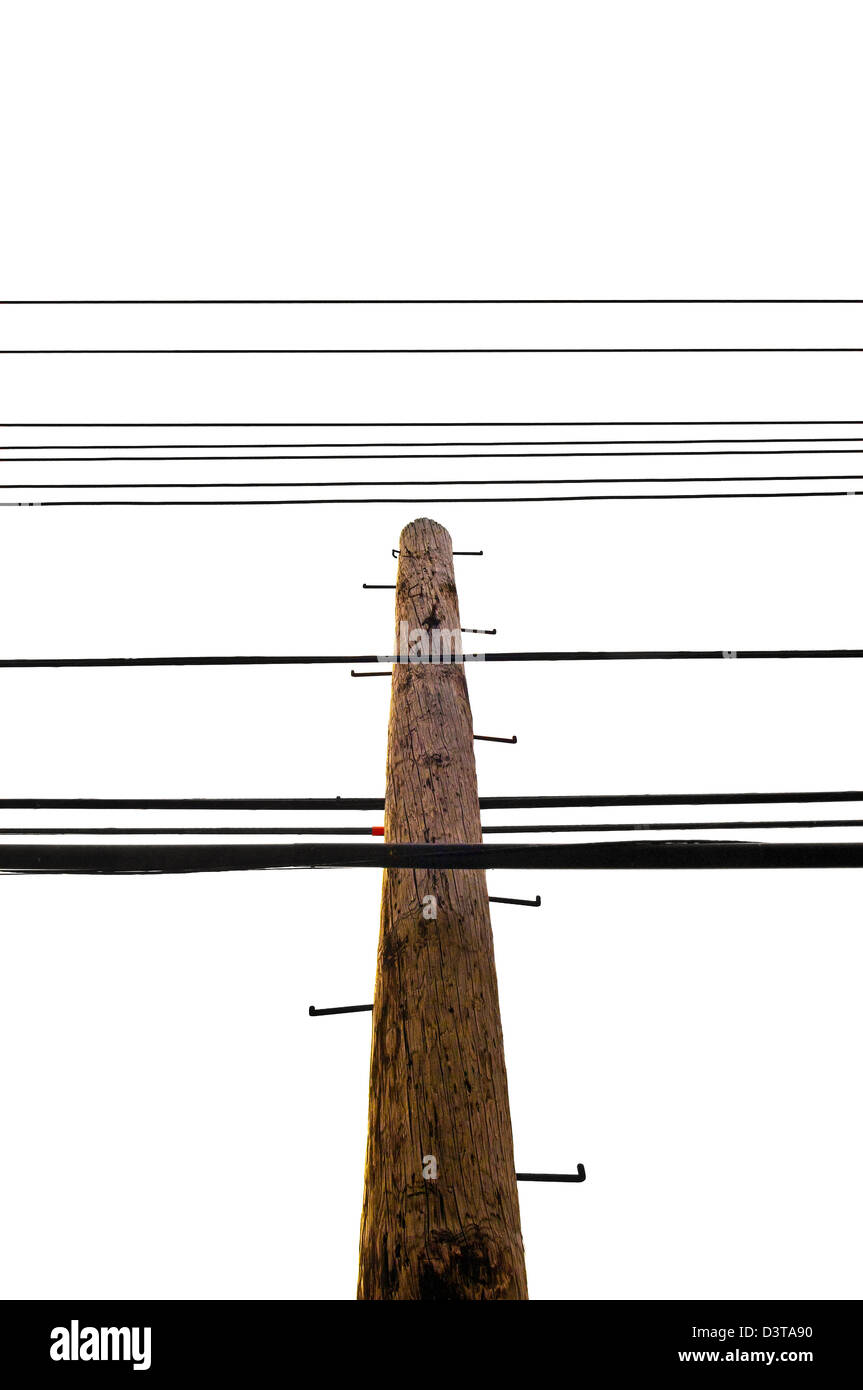 A utility pole with wires and ladder. - Stock Image