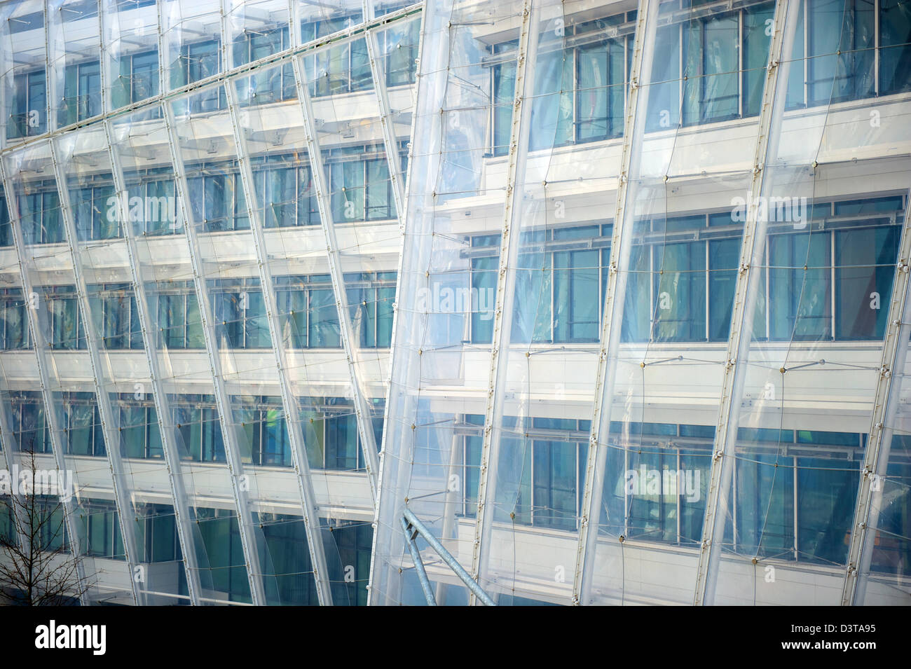 Hamburg, Germany, detail of the facade of the new Unilever building in HafenCity - Stock Image