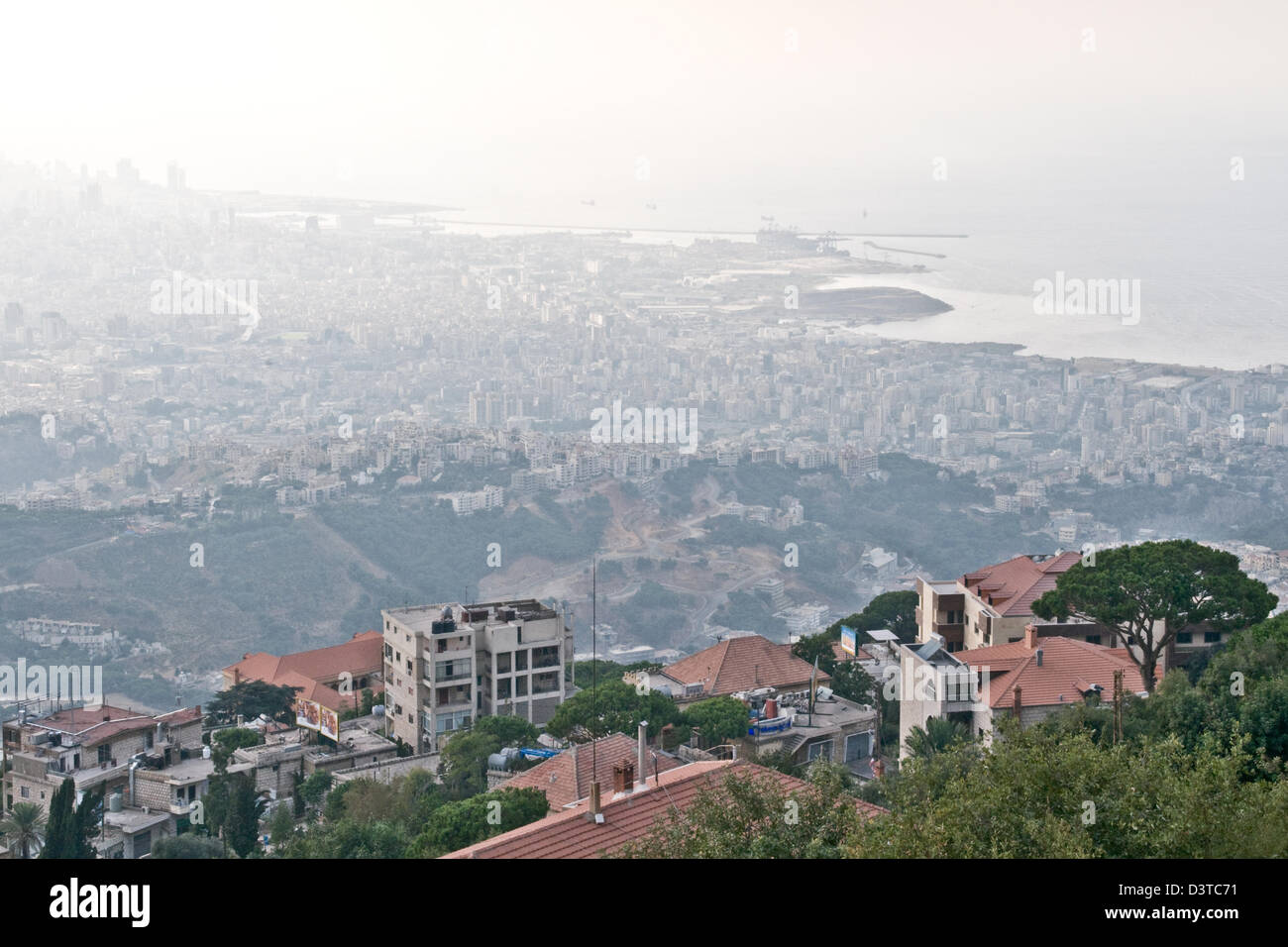 A view of the Lebanese city and port district of Beirut as seen from the town of Beit Meri in the mountains above. Stock Photo