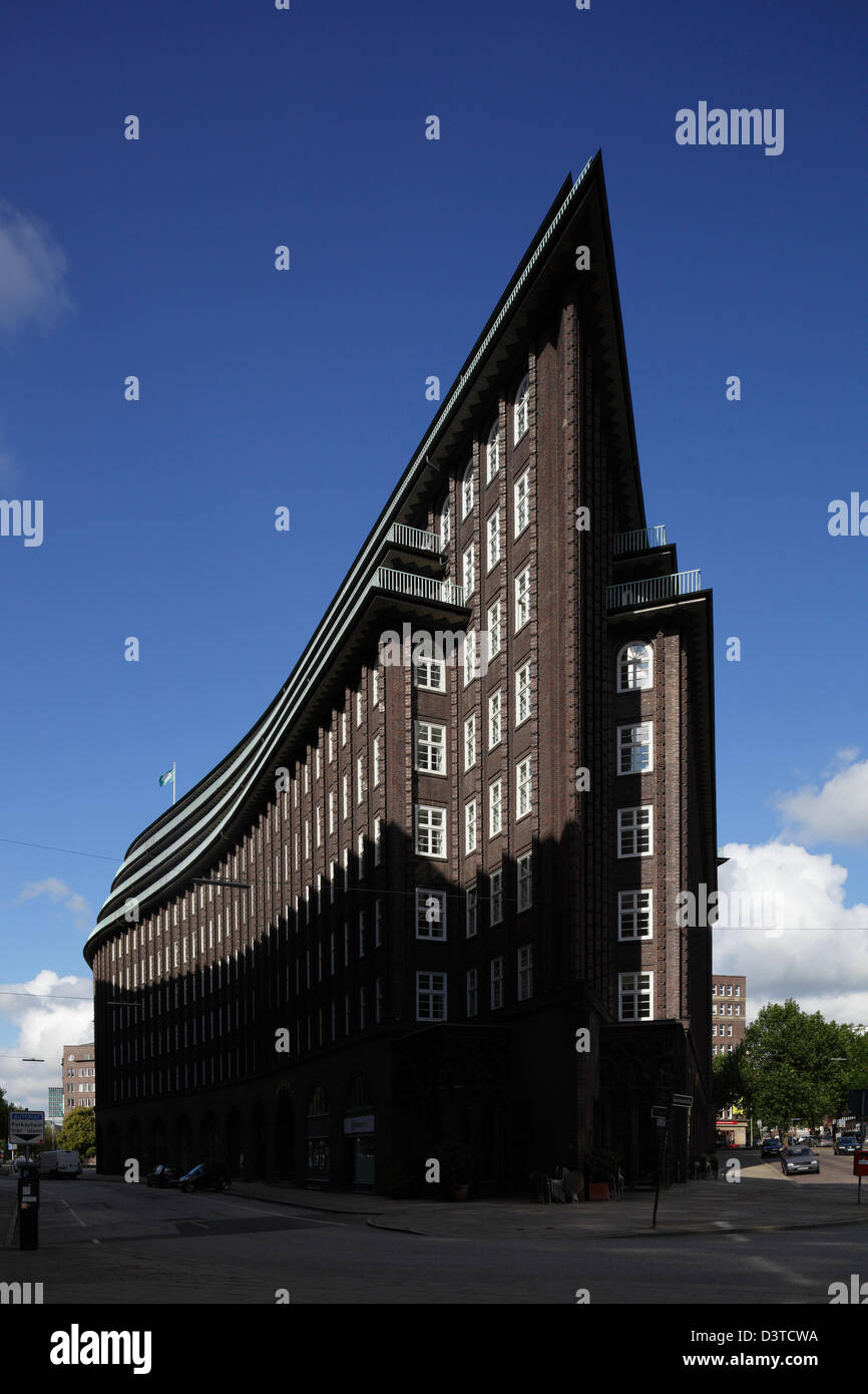 Hamburg, Germany, Acute Angle at Chile house in Hamburg-Mitte - Stock Image