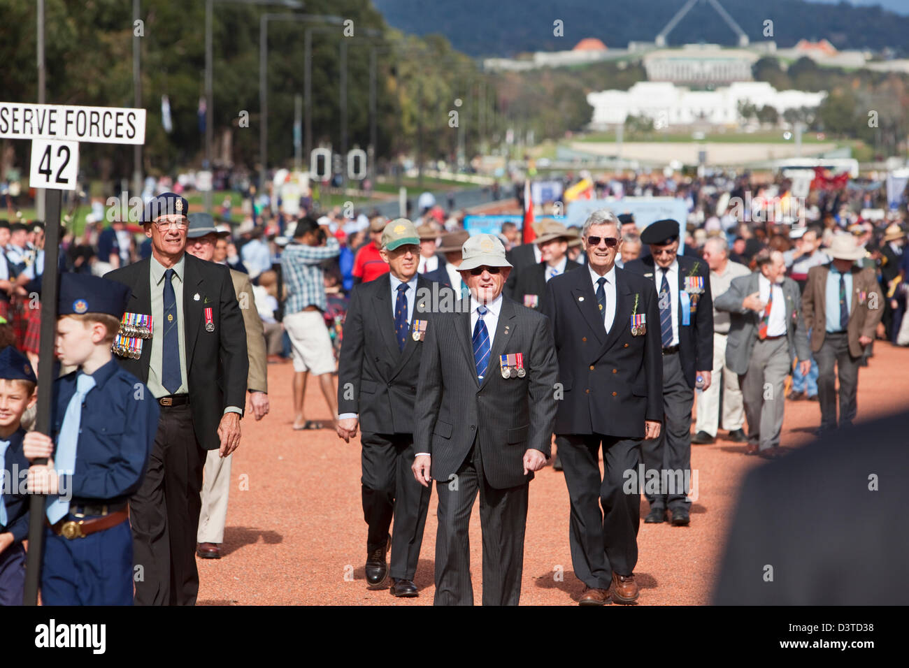 War veterans gather for Anzac Day commemorations. Canberra, Australian Capital Territory (ACT), Australia - Stock Image