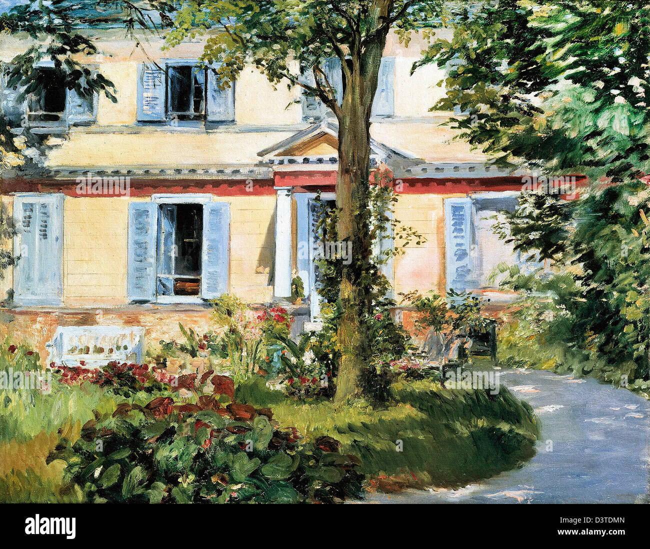 Edouard Manet, The House at Rueil 1882 Oil on canvas. Alte Nationalgalerie, Berlin - Stock Image