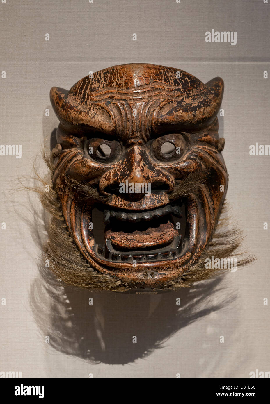 Wooden Japanese Ritual Mask Japan from the Edo period - Stock Image