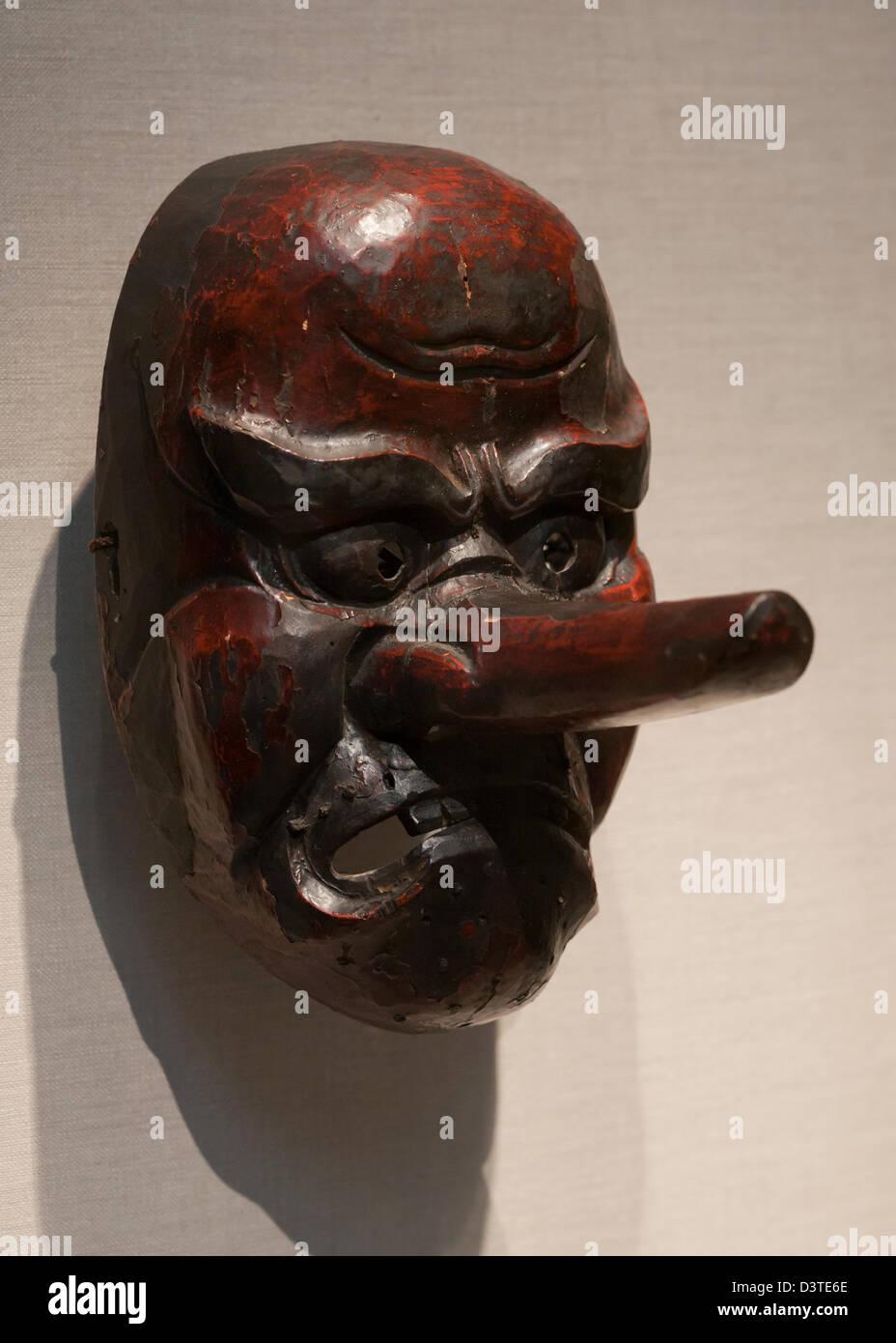 Wooden Japanese shrine demon mask from the Edo period 17th century - Stock Image