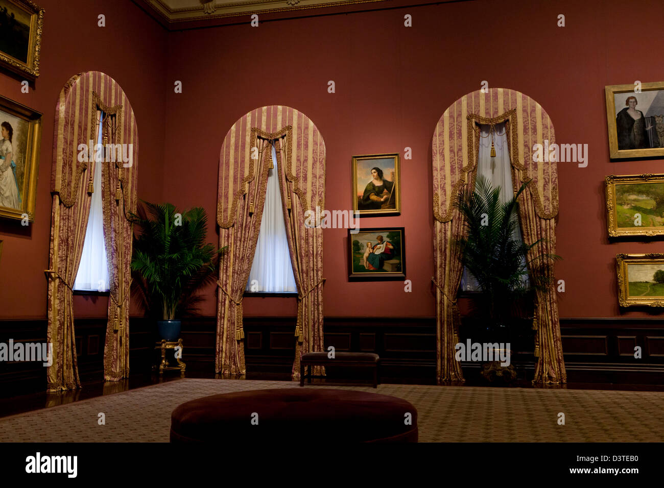 Art gallery window fixtures and curtains - USA - Stock Image