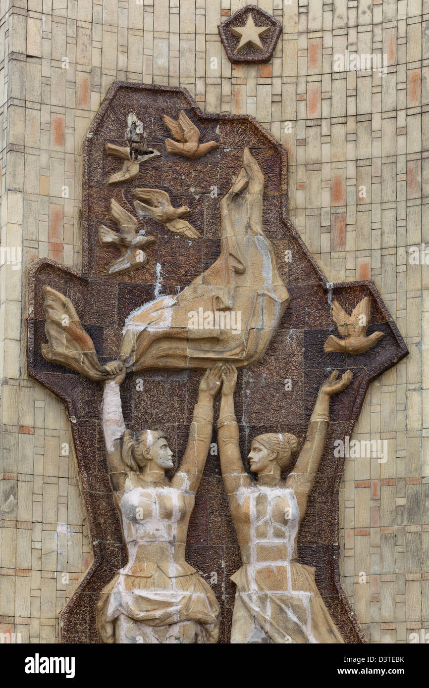 Budapest, Hungary, wall reliefs titled-Soviet-Hungarian Friendship - Stock Image