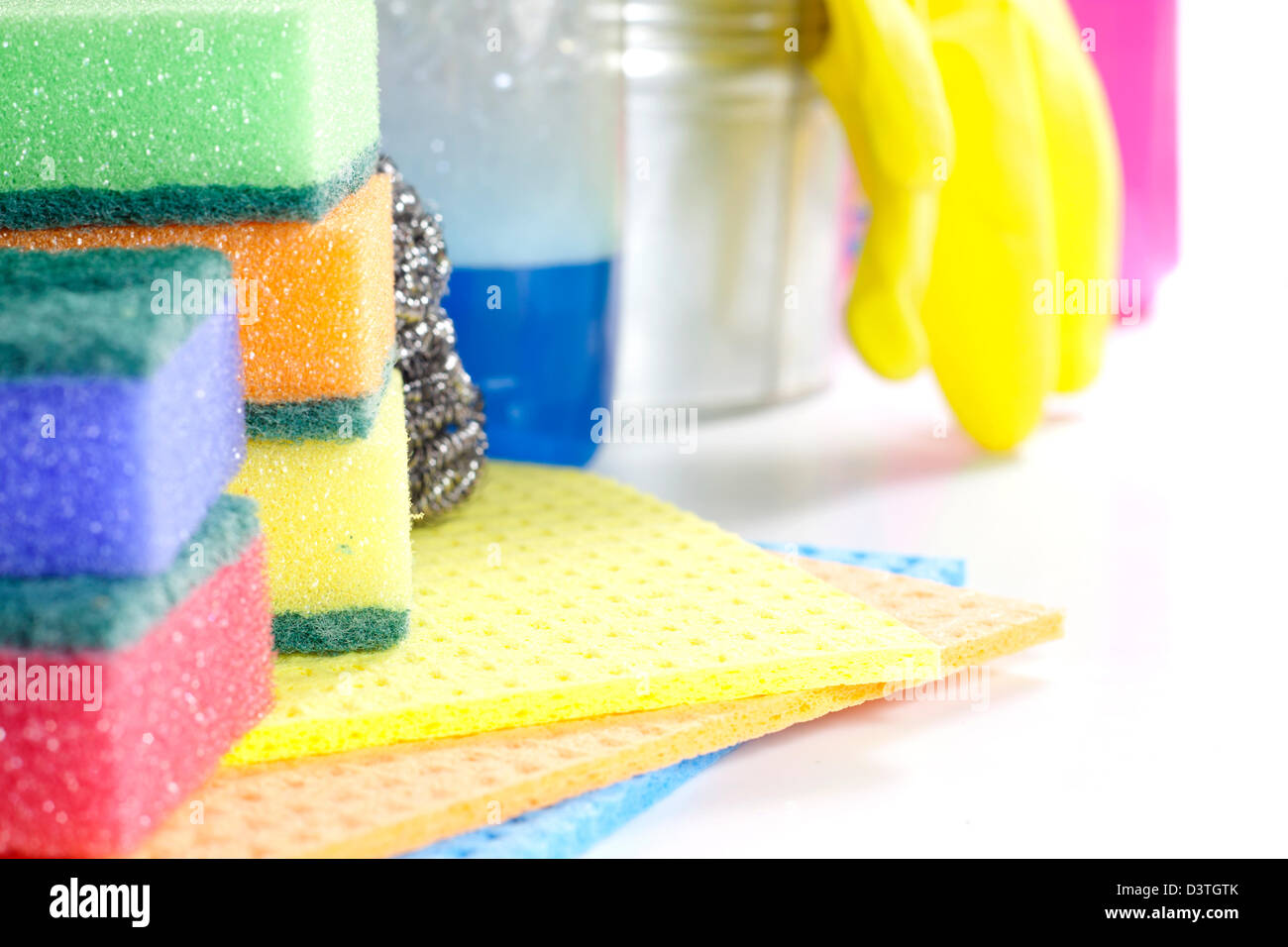 Cleaning tools on white background - Stock Image